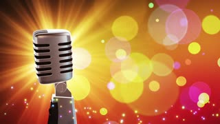 Traditional Retro Vintage Style Microphone Spinning Music Show Loopable Motion Background With Glowing Particles and Bokeh Colorful Orange Yellow Red