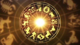 Zodiac Horoscope Astrological Sun Signs On a Spinning Wheel or Chakra Version 2 | Seamless Looping Animated Motion Background Golden Brown Orange Yellow