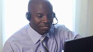 African American man customer service worker