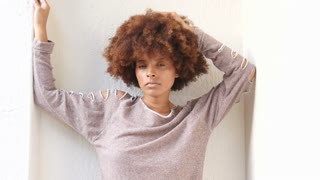African American woman hipster fashion portrait outdoors