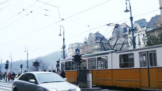 Budapest Hungary - tram street car near Great Market Hall December 8 2015