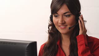 Customer service worker helping out at call center