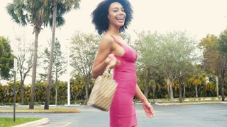 Sexy African American woman walking away with shopping bags