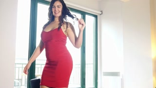 Sexy dancing girl - plus size model woman