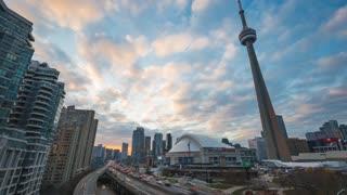 Toronto | 4K timelapse clip of Toronto's Gardiner Expressway & Rogers Centre Highway at sunset