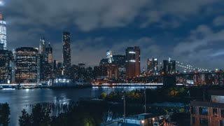 4K hyperlapse sequence of New York City at night shot in Brooklyn | Lower Manhattan at Night from Brooklyn Heights Promenade