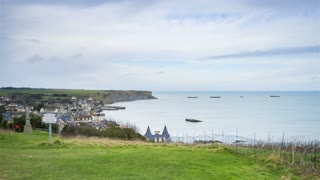 4K Timelapse Sequence of Arromanches, France - Panoramic view of the town