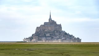 4K Timelapse Sequence of Mont Saint-Michel, France - Zoom on the Mont