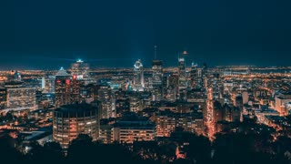4K Timelapse Sequence of Montreal, Quebec, Canada - The Skyline by night