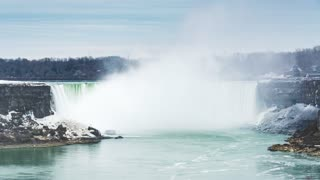4K Timelapse Sequence of Niagara Falls, Canada - The falls with the snow