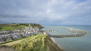 4K Timelapse Sequence of Port-en-Bessin, France - Panoramic view of the city