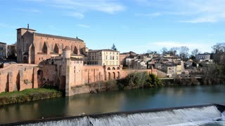 HD Video Sequence of Gaillac, France - The Church