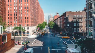 New York City from the High Line | 4K timelapse tilt shift clip shot from the High Line in New York City.