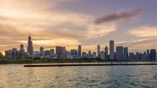 The Skyline of Chicago before the Sunset 4K