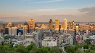 Timelapse Sequence of Montreal, Canada - The skyline before the sunset