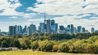 4K Timelapse Sequence of Toronto, Canada - Downtown Toronto from Riverdale Park East during the daytime