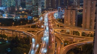 4K Timelapse Sequence of Shanghai, China - Zoom on the Nine Dragon Pillar at Night