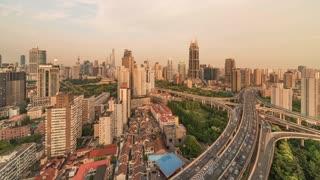 4K Timelapse Sequence of Shanghai, China - Nine Dragon Pillar before the Sunset