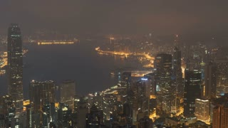 4K Timelapse Sequence of Hong Kong, China - Sunrise of the city as seen from the Downtown Hill (Close Up)