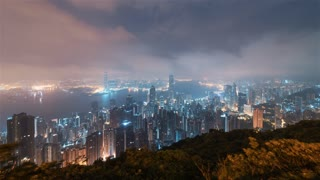 4K Timelapse Sequence of Hong Kong, China - Wide Angle Sunrise as seen from Victoria Peak
