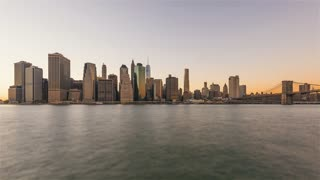 4K Timelapse Sequence of New York City , USA - Manhattan's Skyline from Day to Night as seen from Brooklyn