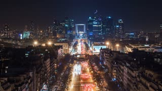 4K Timelapse Sequence of Paris, France - The Financial District of Paris called La defense at night