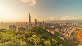 4K Timelapse Sequence of Taipei, Taiwan - Wide of Taipei City from day to night