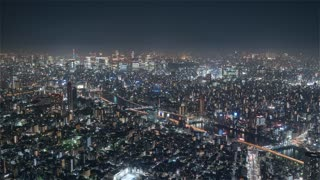 4K Timelapse Sequence of Tokyo, Japan - Shibuya at Night from the Sky Tree Tower Medium Shot