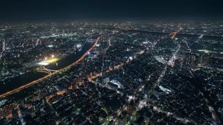4K Timelapse Sequence of Tokyo, Japan - The North of Tokyo s city traffic at Night from the Sky Tree Tower