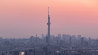 4K Timelapse Sequence of Tokyo, Japan - The Sky Tree Tower in Tokyo from Day to Night