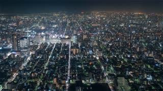 4K Timelapse Sequence of Tokyo, Japan - The South of Tokyo at Night from the Sky Tree Tower Wide Angle