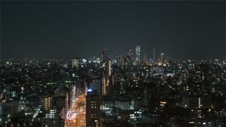 4K Timelapse Sequence of Tokyo, Japan - Tokyo s city traffic at Night from the Bunkyo Civic Center