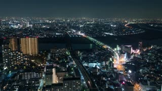 4K Timelapse Sequence of Tokyo, Japan - Tokyo s city traffic at Night from the Ichikawa I-link town Observation deck