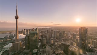 Day to Night timelapse of Toronto as seen from a rooftop in the financial district