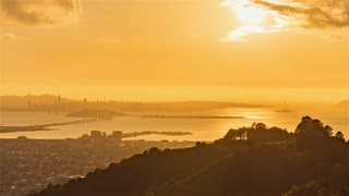 San Francisco, USA, Timelapse  - San Francisco s bay from day to night as seen from Oakland