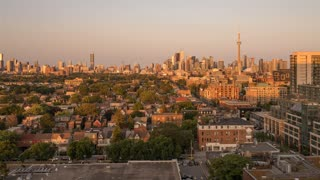 Wide Angle sunset of Toronto s skyline from Queen Street West