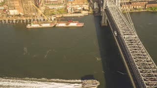 Williamsburg Bridge | New York City | 4K Aerial footage of Williamsburg Bridge filmed from a helicopter.