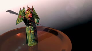 animation of small figurine of Guan Yu