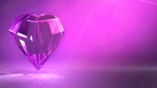 crystal diamond with heart shaped