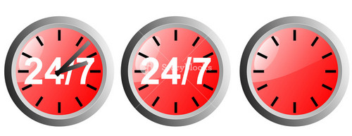 24/7 Clock Icon