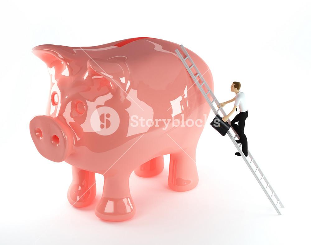 3d Businessman Climbing Onto A Piggy Bank
