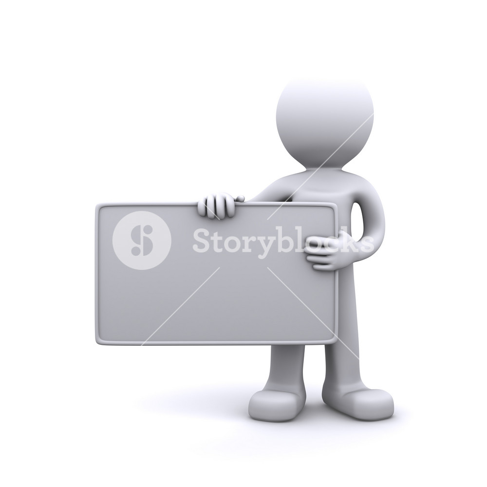 3d Character Holding A Blank Board