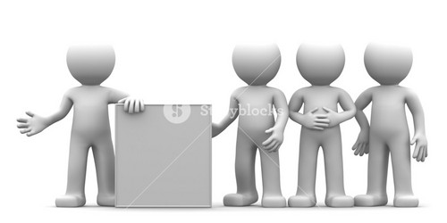 3d Character Showing Blank Banner To The Goup Of People