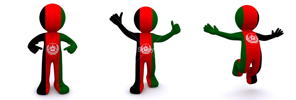 3d Character Textured With Flag Of Afghanistan