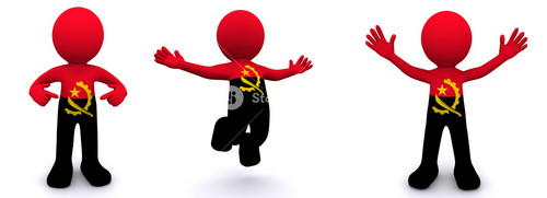 3d Character Textured With Flag Of Angola