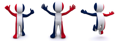 3d Character Textured With  Flag Of France