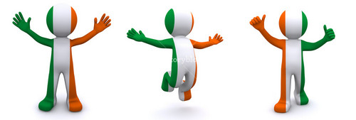 3d Character Textured With Flag Of Ireland