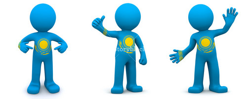 3d Character Textured With Flag Of Kazakhstan
