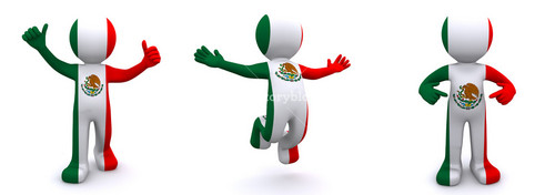 3d Character Textured With  Flag Of Mexico