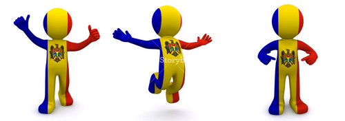 3d Character Textured With  Flag Of Moldova